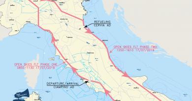 17 luglio 2019: volo Open Skies sull'Italia