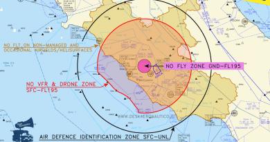 24/25 gennaio: limitazioni al volo fino a 50 NM da Roma
