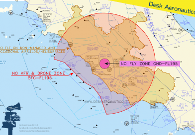 24/25 gennaio: divieto di sorvolo fino a 50 NM da Roma
